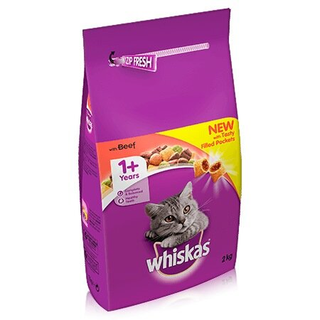 Whiskas Dry 1+ Beef Cat Food 2kg
