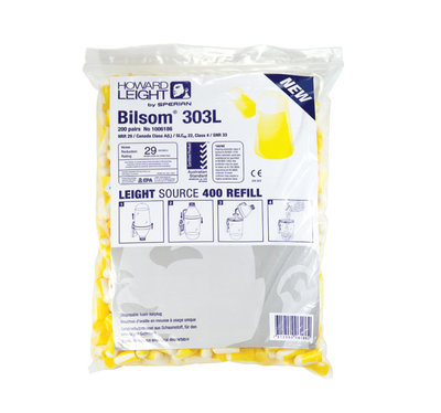 Howard Leight Bilsom 303L Ear Plug Dispenser Refill (Bag of 200) for EPHLD, SNR 33dB