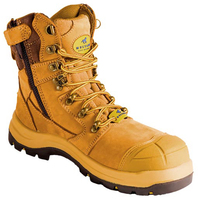 Mustang Think Big 7120Z Nitrile Sole 300°C Lace Up Zip Safety Boot with Scuff Cap Wheat