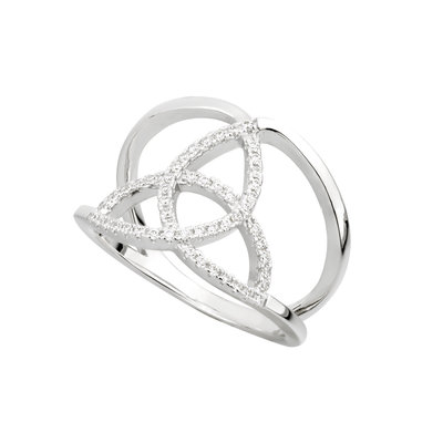 CUBIC ZIRCONIA SILVER TRINITY KNOT RING