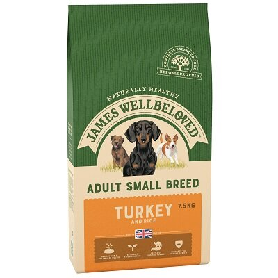 James Wellbeloved Small Breed Turkey & Rice Dog Food 7.5kg