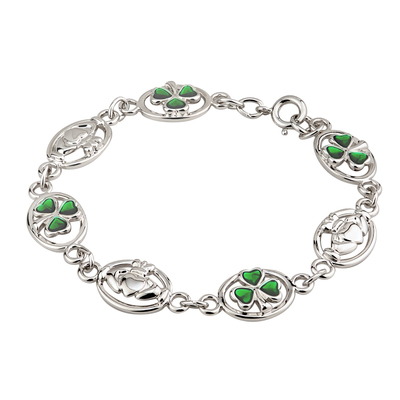 RHODIUM PLATED ENAMEL CLADDAGH & SHAMROCK BRACELET(BOXED)