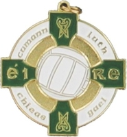 34mm Gaelic Football Medal - Gold / Green