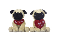 "DOG 8""/20CM PUG DOW WITH HEART/SCARF (2PC)"