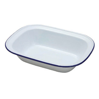 Falcon 22cm Oblong Enamel Pie Dish White
