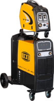 INE SYLINE KME5000 SYNERGIC WITH PULSE FACILITY 3ph 400V 32A MMA/MIG WELDER C/W TY4 WIRE FEED UNIT, 2MTR INTERCONNECTOR CABLE, WATERCOOL UNIT, TWE SW450F TORCH, REG, FLOW METER & EARTH LEAD