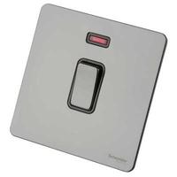Schneider Ultimate Screwless 20Amp Double Pole Switch + Neon Black Nickel black|LV0701.0919