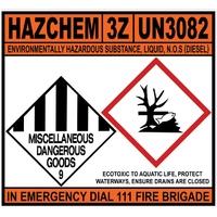 Hazchem 3Z UN3082 NOS Diesel SAV-680x620mm