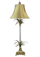 Tishan Table Tall Metal and Glass Base with Leaves and Gold Bell Shade