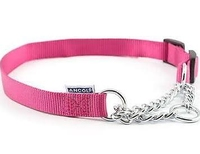 "Ancol Nylon Half Check Collar 1-2 Raspberry Pink 14"" x 1"