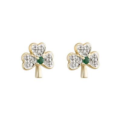 14k gold diamond and emerald shamrock stud earrings s3975 from Solvar