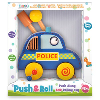 Wooden police car push and roll toddler toy - in packaging