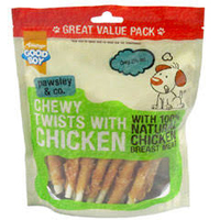 Good Boy Pawsley & Co. Dog Treats - Mega Chewy Twists with Chicken 70g x 18