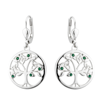 RHODIUM PLATED CRYSTAL TREE OF LIFE DROP EARRINGS