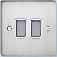 DETA Flat Plate 2gang switch Satin Chrome with White Insert | LV0201.0181
