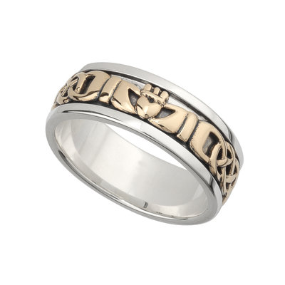 sterling silver and gold claddagh band ring for him s21008 from Solvar