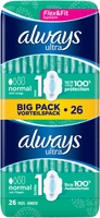 Always Ultra Normal Sanitary Towels With Wings Size 1 26s