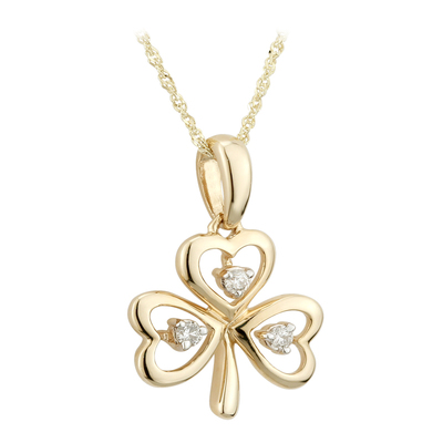 14K DIAMOND SHAMROCK PENDANT(BOXED)