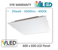 VENTURE 30W EDGE LIT LED PANEL 4000K AND DRIVER - 3000 LUMENS IP40 5YR WARANTY