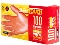 Supertouch Powdered Vinyl Gloves, Red
