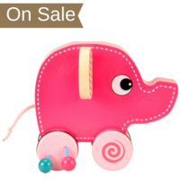 Wooden pink elephant push and roll toy