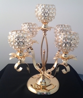 Candleholder 5 Clear Crystal C/H Cups Gold