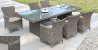 Pacific 7pce Natural Wicker Dining Set, With Cushions