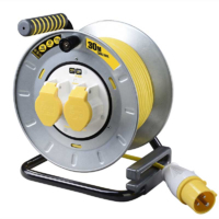 110V SITE POWER 2 SOCKET CABLE REEL 30 METRE