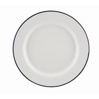 Wide Rim Plates Enamel White With Blue Edge 20cm