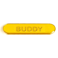 Buddy - Bar Shaped School Badge (Yellow)