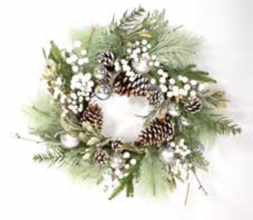60cm White Berry and Silver Bauble Christmas Wreath