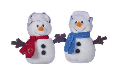 """SNOWMAN TEDDY IN HAT AND SCARF 10"""""""