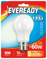 EVEREADY 9.6W (60W) B22 LED GLS 806 LUMENS