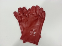GLOVE GAUNTLET RED PVC