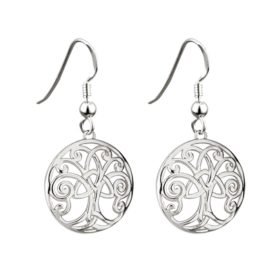 RHODIUM TREE OF LIFE DROP EARRINGS