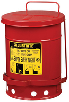 JUSTRITE Oily Waste Can, 20L, Foot-Operated Self-Closing Cover