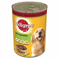 Pedigree Cans Adult Beef, Veg & Pasta in Gravy 400g x 12pk