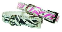 Pet London Dog Collar - Glitter Zebra Black Medium x 1