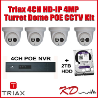 Triax 4MP 4 Camera HD IP CCTV Kit