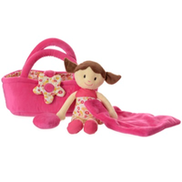 Nelly rag doll with carrycot