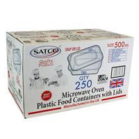 Microwave Plastic Container & Lids - Satco (250x500ml)