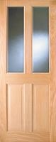 Indoors Addison Pre-Fin Oak Bev Glass Door 80X32