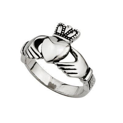 STEEL GENTS ENGRAVED CLADDAGH RING
