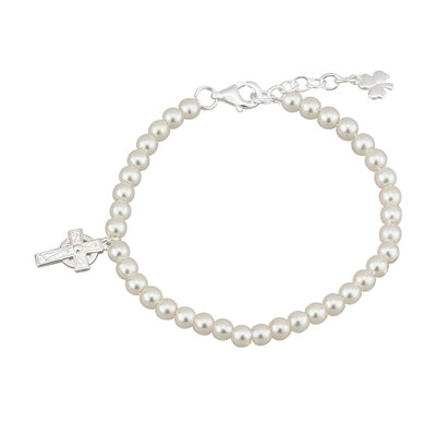 RHODIUM PLATED PEARL AND CROSS BRACELET (BOXED)