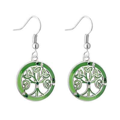 RHODIUM ENAMEL & CRYS TREE DROP EARRINGS