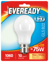 EVEREADY 10.8W (75W) B22 LED GLS 1060 LUMENS