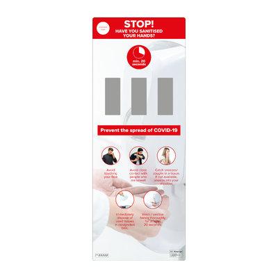 Wall mounted hand sanitiser station - triple dispenser, full height