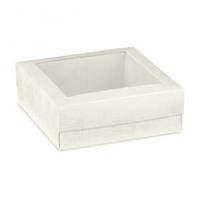 BOX & LID WHITE w/ PVC WINDOW 200x200x60mm