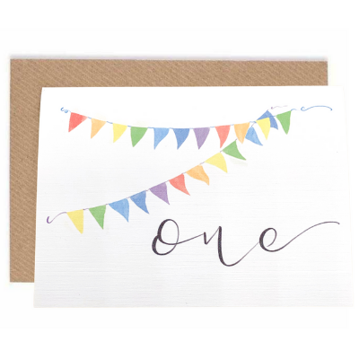 Birthday Bunting Card - Age 1