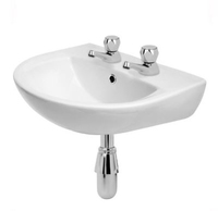 President Contract Washbasin 450mm 2 Taphole K08-040-EX1
